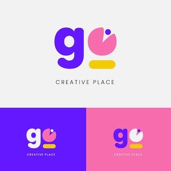 Modèle de logo à plat