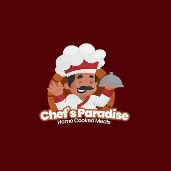 Modèle de logo de plats cuisinés à la maison de chef indien paradis