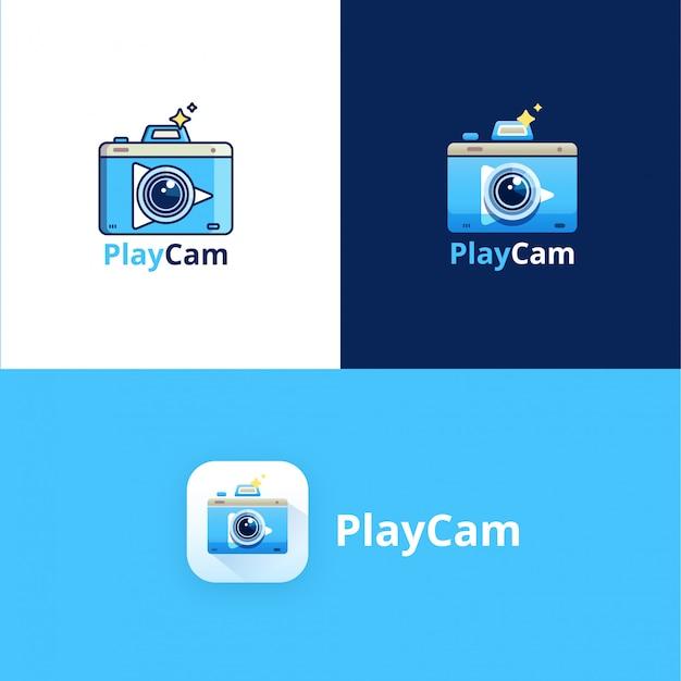 Modèle de logo play camera