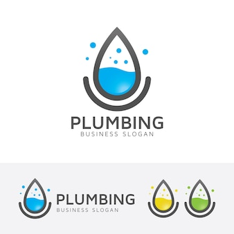 Modèle de logo de plomberie et de l'eau