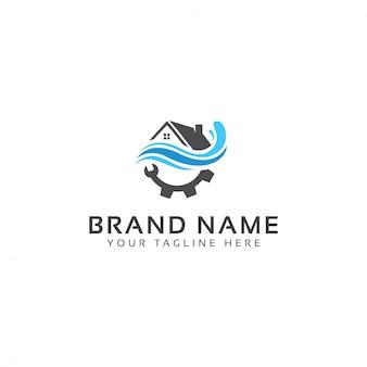 Modèle de logo de plomberie intérieure