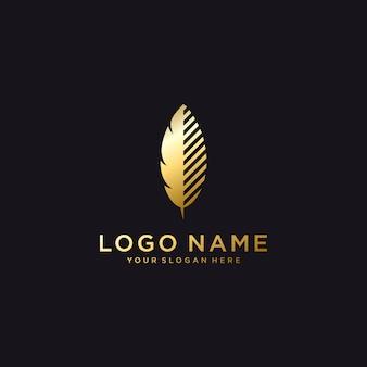 Modèle de logo de plume de luxe