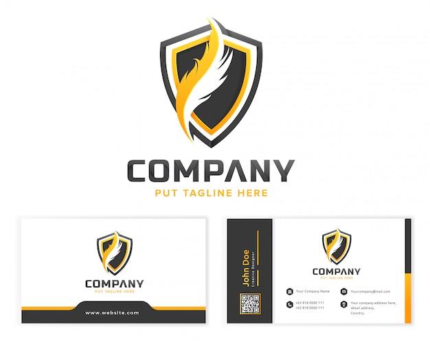 Modèle de logo de plume pour entreprise avec carte de visite