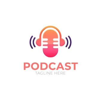 Modèle de logo de podcast dégradé