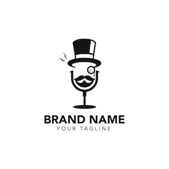 Modèle de logo de podcast gentleman
