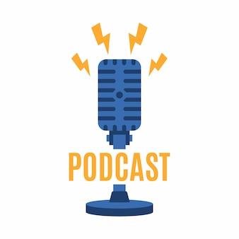 Modèle de logo de podcast. icône de microphone et de foudre