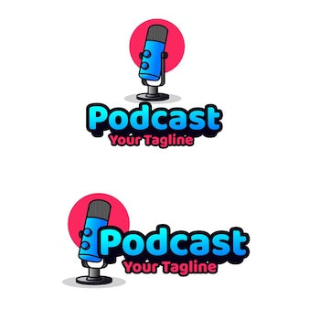 Modèle de logo podcast talk character