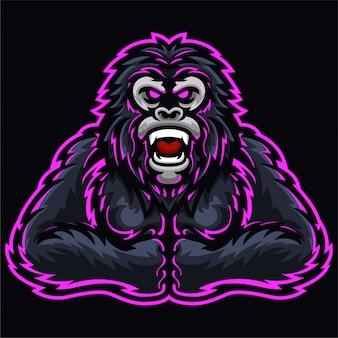 Modèle de logo de poing de singe rois de gorille en colère