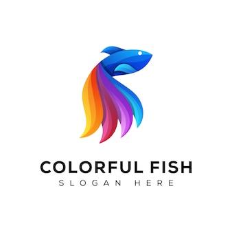 Modèle de logo de poisson coloré génial, logo de poisson de beauté, logo de poisson abstrait, logo de poisson moderne