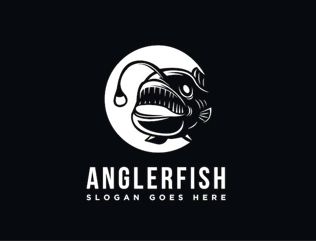 Modèle de logo de poisson pêcheur de haute mer