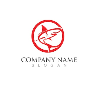 Modèle de logo de poisson requin. symbole vecteur créatif