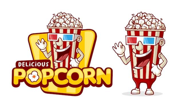 Modèle de logo popcorn délicieux, avec personnage drôle