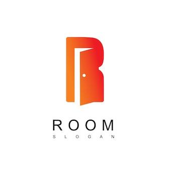 Modèle de logo de porte lettre r
