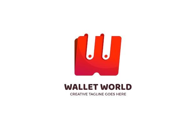 Modèle de logo de portefeuille rouge