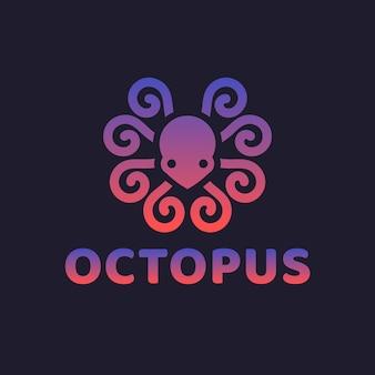Modèle de logo de poulpe dégradé