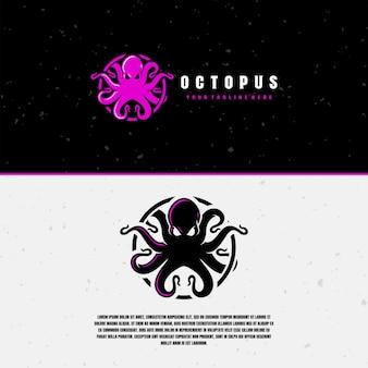 Modèle de logo de poulpe violet et noir