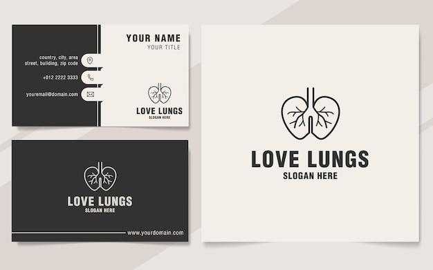 Modèle de logo de poumons d'amour sur le style monogramme
