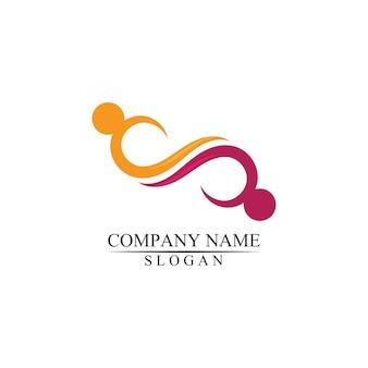Modèle de logo pour l'adoption et les soins communautaires à l'infini