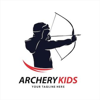 Modèle de logo pour enfants de tir à l'arc
