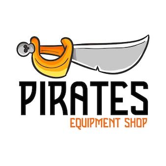 Modèle De Logo Pour Magasin D'équipement Pirates Vecteur Premium