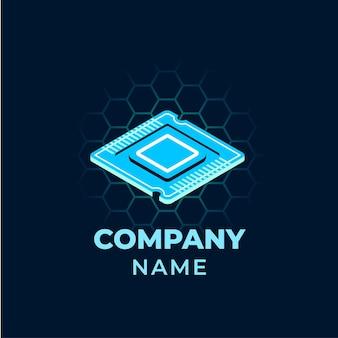 Modèle de logo pour ordinateur portable design plat créatif