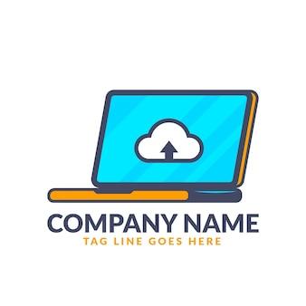 Modèle de logo pour ordinateur portable design plat