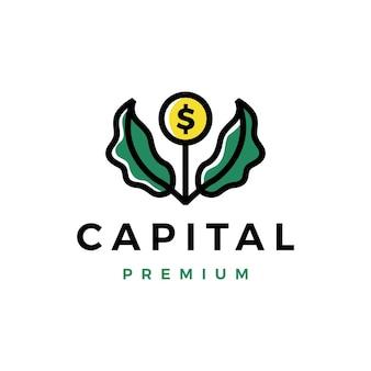 Modèle de logo de pousse de feuille d'arbre de croissance de pièce d'argent