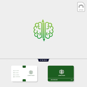 Modèle de logo premium cerveau, modèle de carte de visite inclus