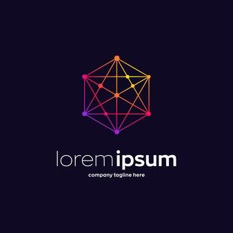 Modèle de logo premium réseau hexagone