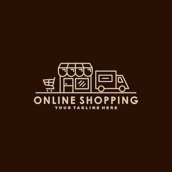 Modèle de logo premium shopping en ligne