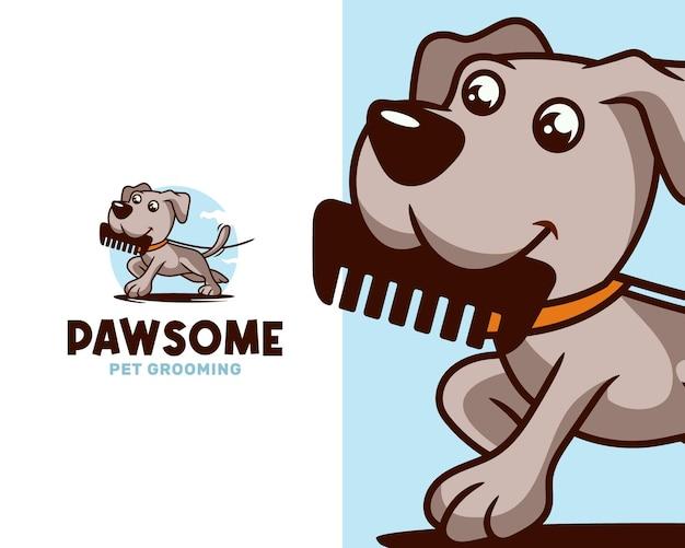 Modèle de logo de promenade et de toilettage pour animaux de compagnie