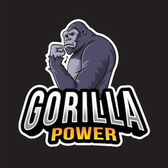 Modèle de logo de puissance de gorille