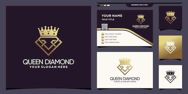 Modèle de logo queen diamond avec couleur de style dégradé doré et conception de carte de visite vecteur premium