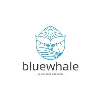 Modèle de logo de queue de baleine bleue