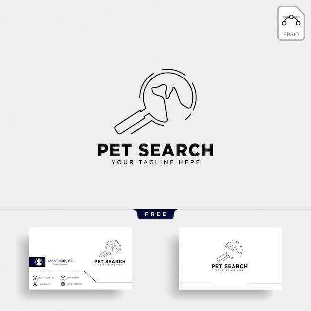 Modèle de logo de recherche animal de compagnie avec style art