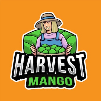 Modèle de logo de récolte de mangue