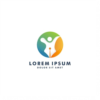 Modèle de logo de rédacteur créatif. personnes abstraites design - vector