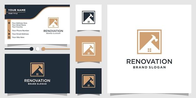 Modèle de logo de rénovation avec un concept unique moderne vecteur premium