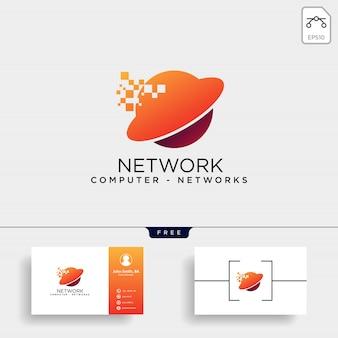 Modèle de logo de réseau de globe numérique