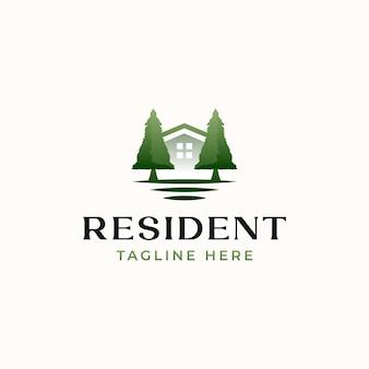 Modèle de logo résident vert isolé en fond blanc