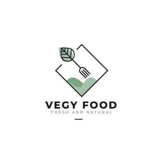 Modèle de logo de restaurant de cuisine végétalienne
