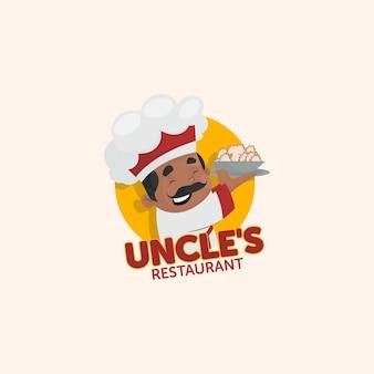 Modèle de logo de restaurant oncle indien