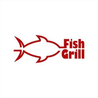 Modèle de logo de restaurant de poisson grill simple