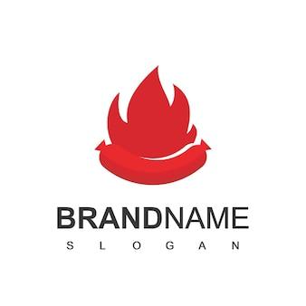 Modèle de logo de restauration rapide chaude