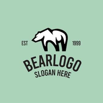 Modèle de logo rétro ours
