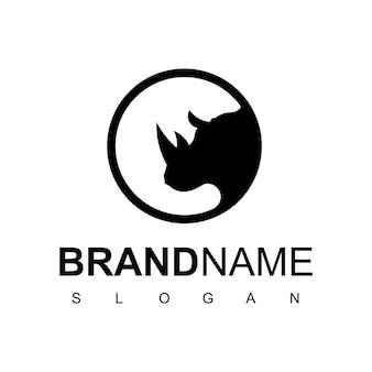 Modèle de logo de rhinocéros de cercle