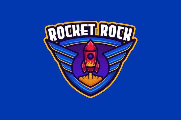 Modèle de logo rocket rock e-sport