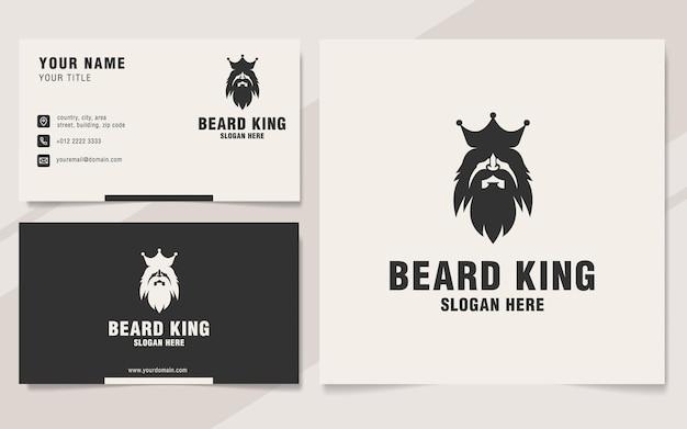 Modèle de logo roi barbe sur style monogramme