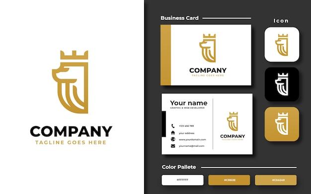 Modèle de logo de roi lion avec carte de visite