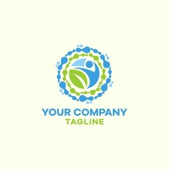 Modèle de logo rond de santé, nature, joie, médecine